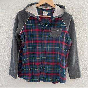 L.L. Bean kids flannel button up hoodie